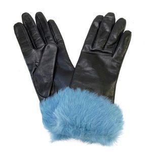 Vintage 90s Leather Genuine Fur Cuff Trim Gloves